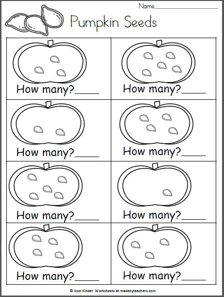 幼儿园和幼儿园的自由落体数学工作表。练习计数并将数字写入5.计算每个南瓜中的种子并写下数字。我们喜欢在10月和万圣节使用种子进行数学运算。如此多的怪异或凌乱的乐趣。