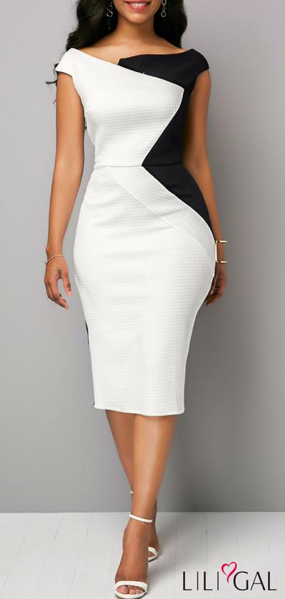 Boat Neck颜色块背开衩连衣裙现售仅售US $ 35.84,在liligal.com购买便宜的Boat Neck色块背开衩连衣裙