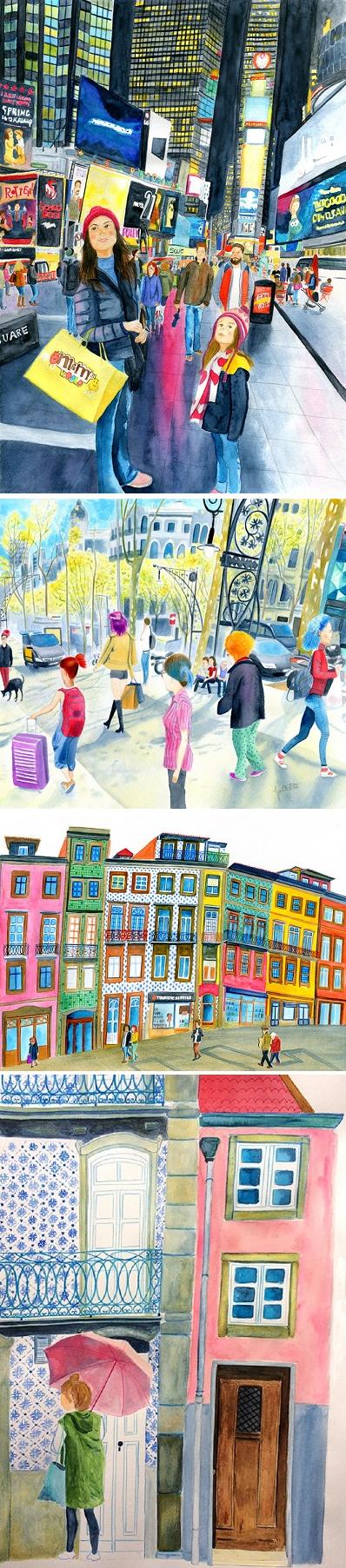 Illustrations of City Life by Ju Castelo