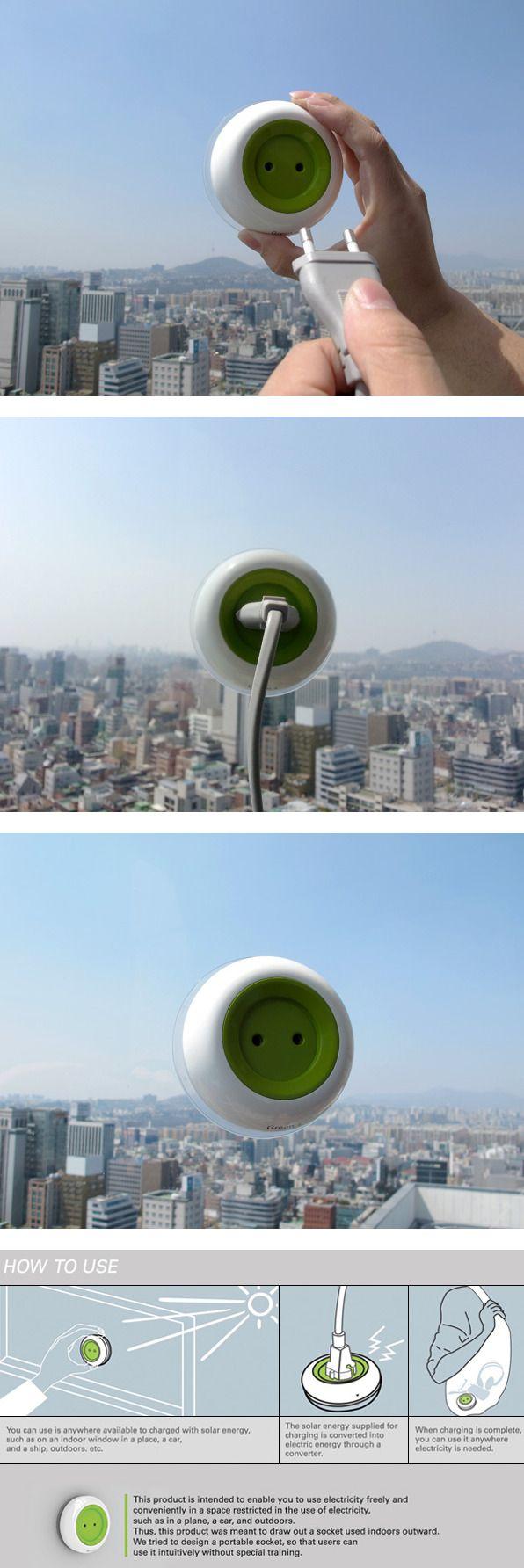"""""""窗口插座""""是一种创新的太阳能窗口插座,可将太阳光转换为电力,并允许人们为其小型电子设备充电。这个概念是由Kyuho Kyuho Song&Boa Oh设计的。"""