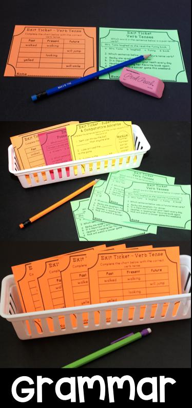 包括46个语法出口门票。门票打印四页到一页。包括每个通用核心主题的两张票。第一张票是更多的自由回复风格或应用程序样式,而第二张票包含多个选择/测试准备样式问题。