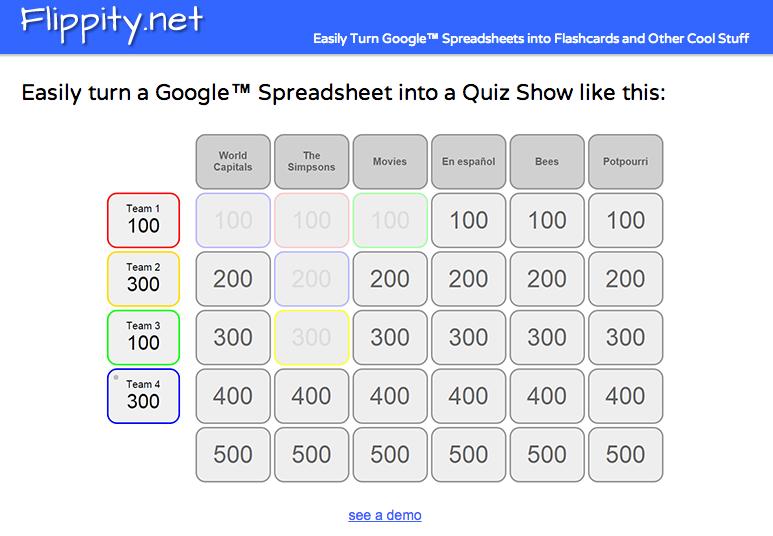 去年的这个时候,我分享了一个名为Flippity的整洁Google Spreadsheets脚本。 Flippity最初设计用于帮助您通过Google Spreadsheets创建抽认卡。今天早上Steve Fortna告诉我,你现在可以使用Flippity通过Google Spreadsheets创建Jeopardy风格的游戏板。在嵌入式视频中,我演示了如何使用Flippity创建一个Jeopardy风格的游戏板。