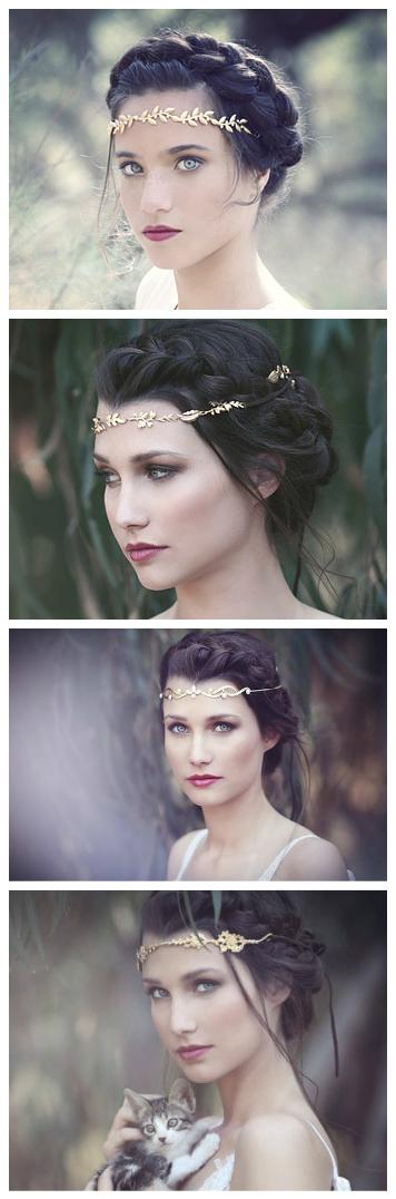 Grecian Forehead Band, Goddess Wreath, Bridal Hair Accessories, Fantasy Crown,