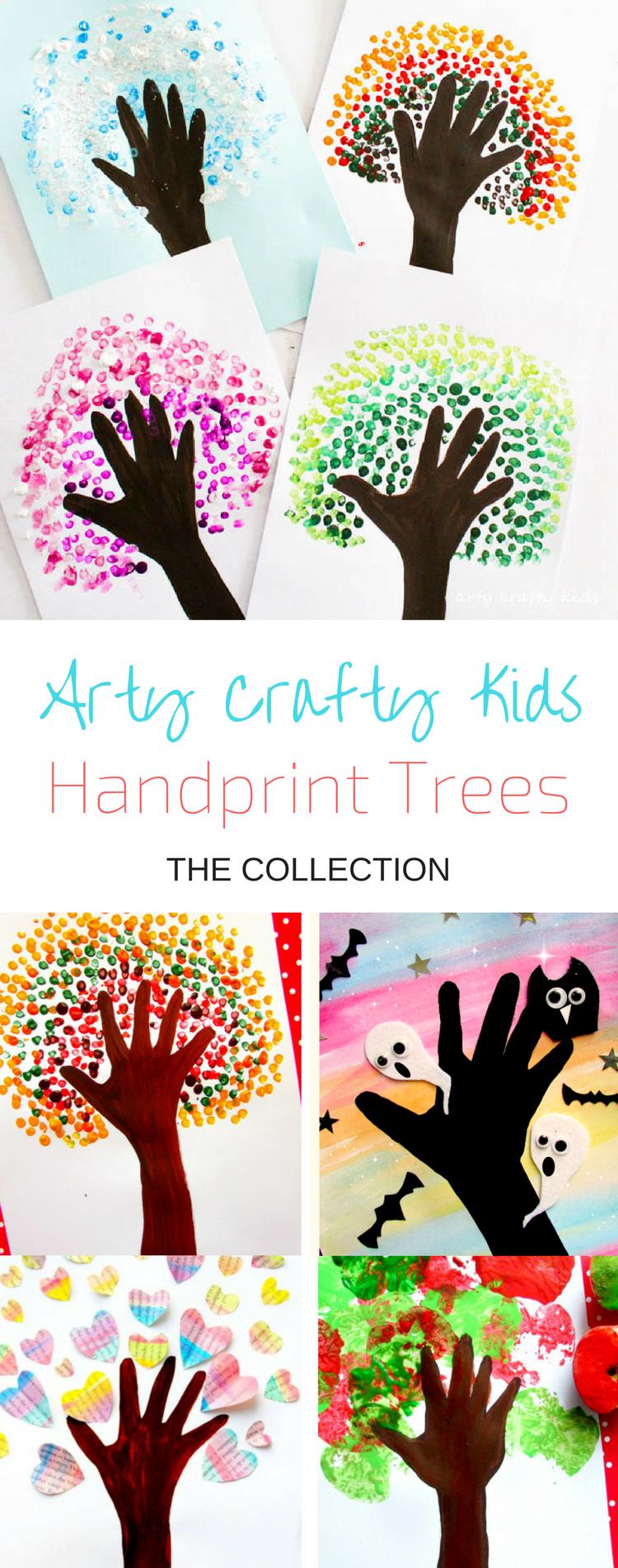 基于我们流行的秋季手印树,我们现在有一个完整的四季手印树贴 - 一个有趣的艺术项目,供孩子们观察季节。