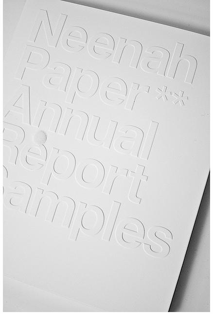 Blind Emboss Cover, Neenah Paper Annual Report.