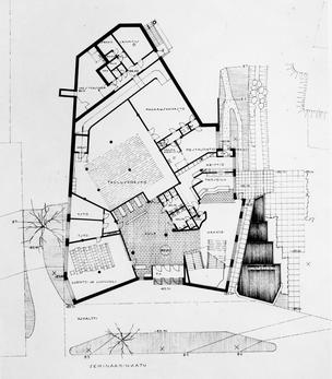 Alvar Aalto,博物馆建筑的底层平面图,Alvar Aalto博物馆,芬兰Jyvaskyla,1971