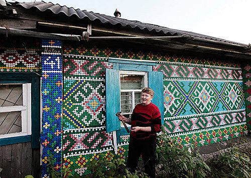 house decorated with plastic bottle caps #exterior
