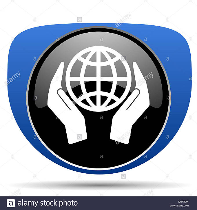 Hand protect the earth web icon - Stock Image
