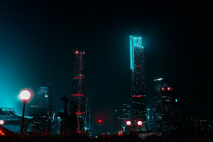 High-rise Buildings During Nighttime