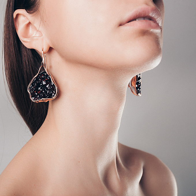 Model of jewelry earrings