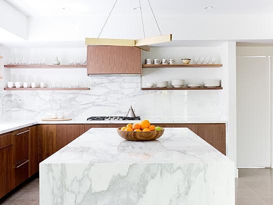 Marble Kitchen Island in Contemporary Kitchen
