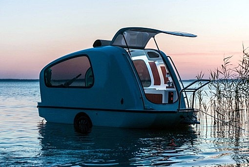 The Sealander trailer doubles as a boathouse too!