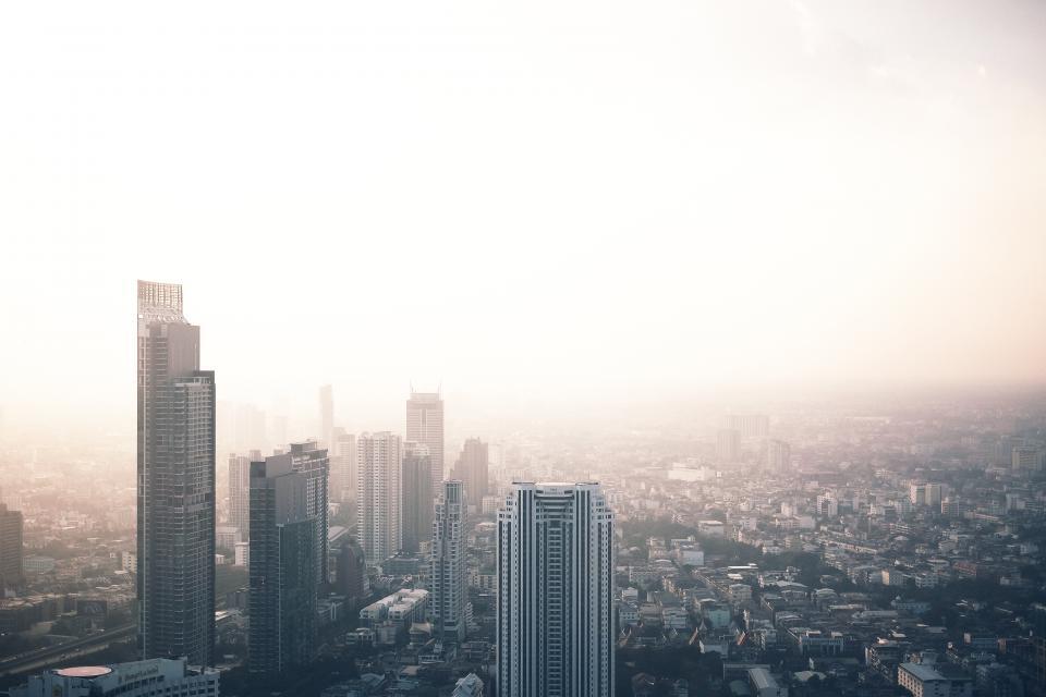 architecture, building, infrastructure, sky, skyscraper, tower, skyline, city, urban, view, fog