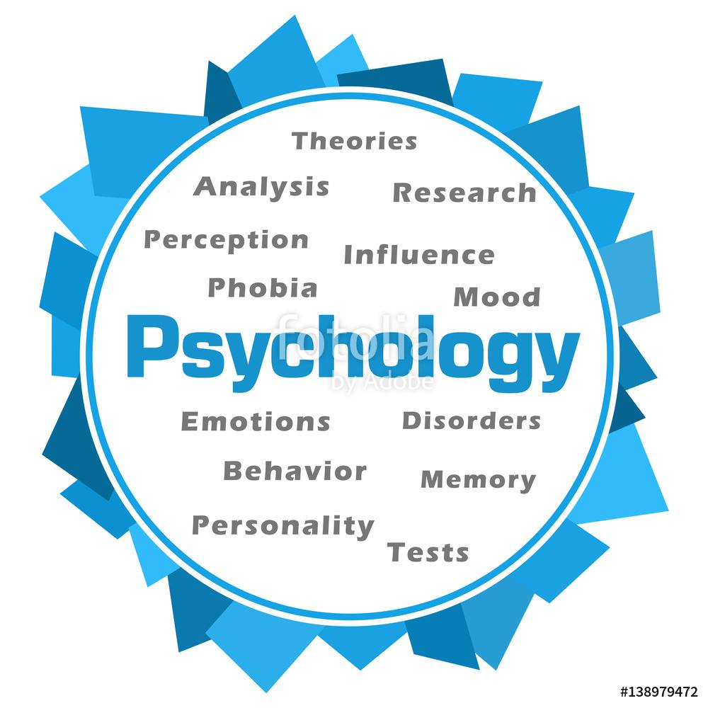 Illustration: Psychology Word Cloud Blue Abstract Circular