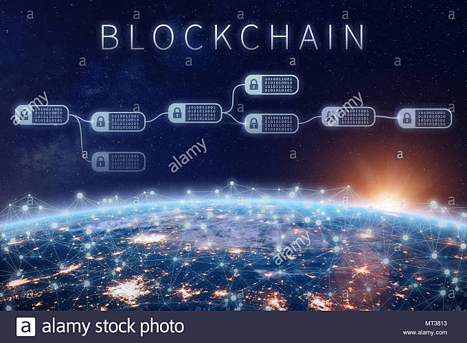 Blockchain financial technology concept with network of encrypted chain of transaction block linked around planet Earth, cryptocurrency ledger (Bitcoi - Stock Image