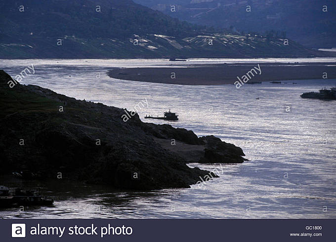 the landscape of the yangzee river in the three gorges valley up of the three gorges dam projecz in the province - Stock Image