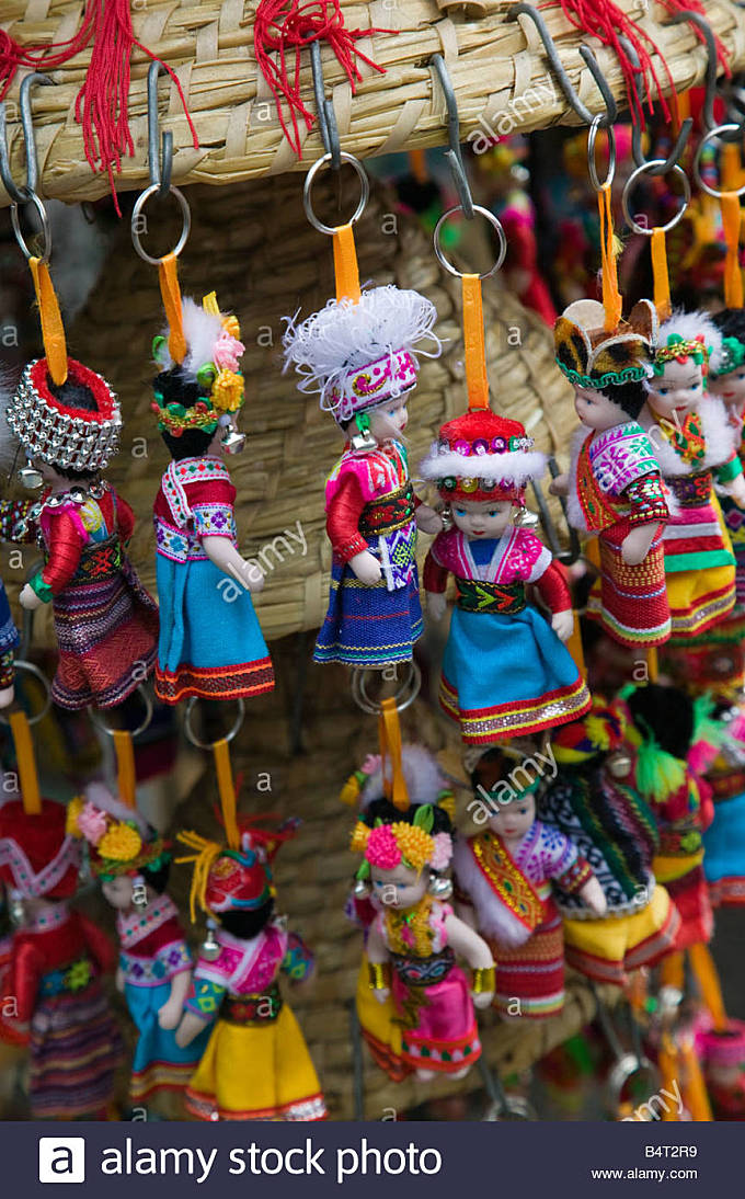 China, Yunnan Province, Dali, Old Town, Miniature Dolls in Bai Minority Costumes - Stock Image