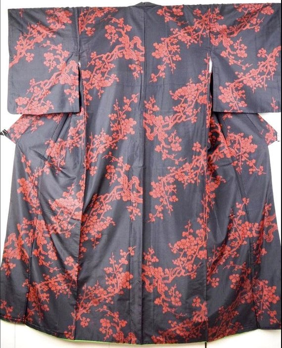 SALE! Spectacular 1920 Black & Red Cherry Blossom Meisen Silk Kimono * pre-war Antique Japanese women's clothing fabric sakura ume