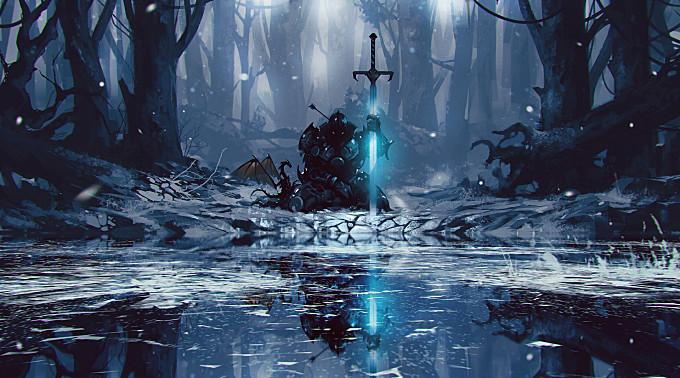 artwork|dragon|fantasy|fantasy-art|forest|frozen|knight|lake|reflection|snow|sword|warrior