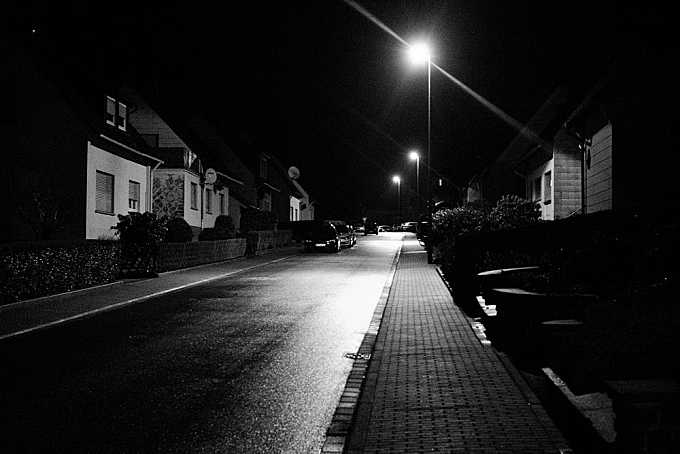 Only a wet street at night
