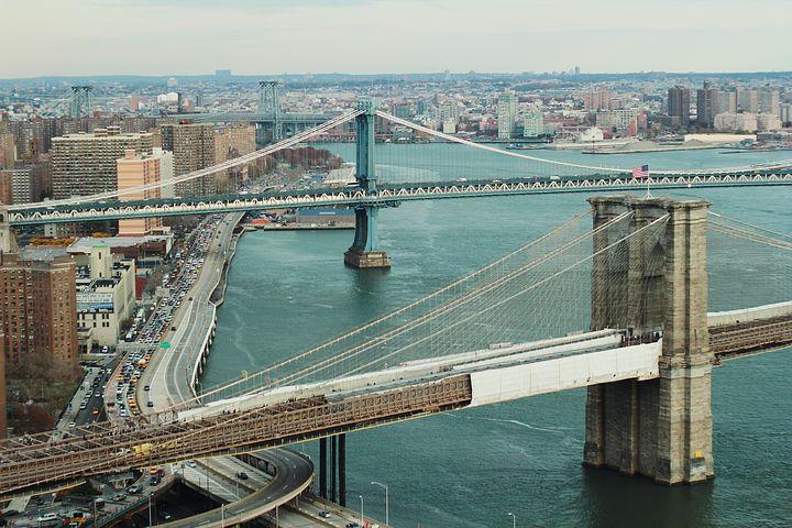 城市, 河, 桥梁, 哈德逊, 新, 纽约, 市容, 建筑物, 结构