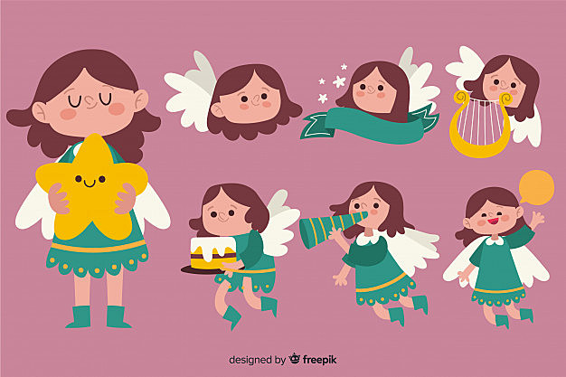 Hand drawn cute angel collection