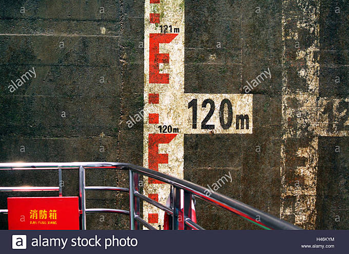 China, Yangtse river, sluice chamber on 120 metres, - Stock Image