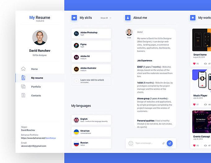 Dashboard Resume concept