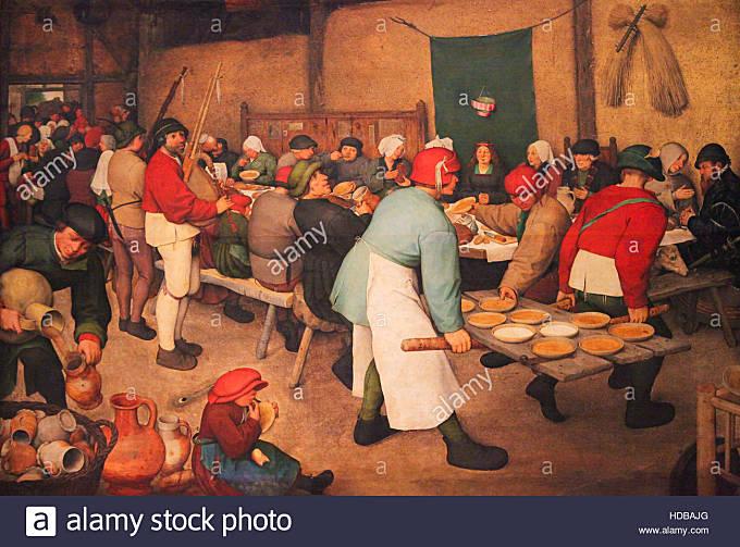 Flemish Renaissance Painting (1567) depicting The Peasant Wedding by Peter Brueghel the Elder - Stock Image