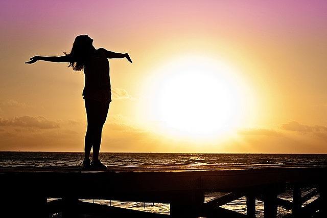 woman girl freedom happy sun silhouette sunrise beach freedom happy happy happy happy happy