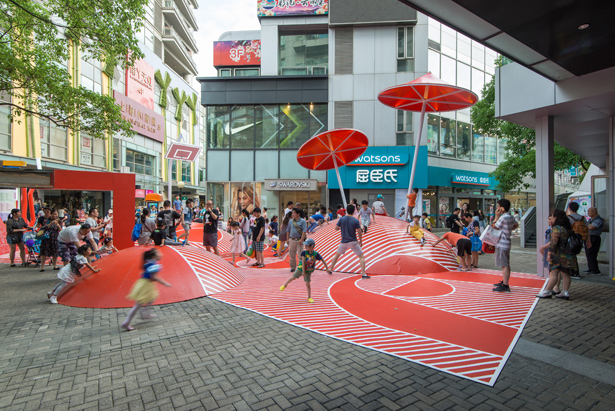 Red Planet Open Space Playground inside An Open-Air Retail Street