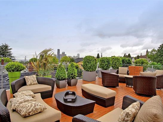 Rooftop Deck With Wicker Sofas