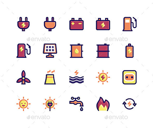 Simple Set of Energy Related Vector Filled Line Icons. Contains such Icons as plug, battery, gas, solar, oil, sun and More. pixel perfect vector icons based on 32px grid. Well Organized and Layered.   	Attached ZIP folder contains: - AI CS5 files with editable strokes; - EPS 10 files with editable strokes; - Isolated PNG in 5 sizes of both versions (32px, 64px, 128px, 256px, 512px); - Isolated SVG