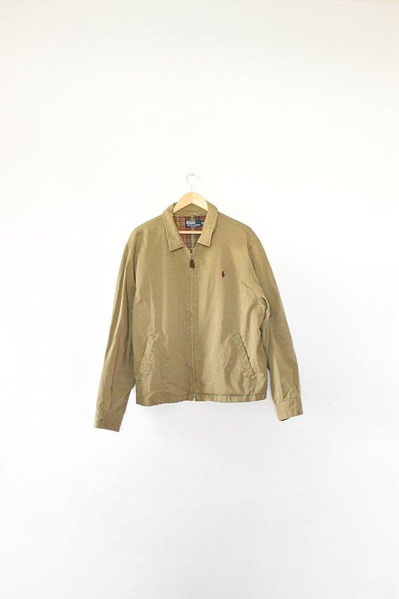 MINIMAL POLO JACKET // size mens x large // 90s // ralph lauren // boxy // utilitarian // work jacket // minimalist / olive / vtg vintage