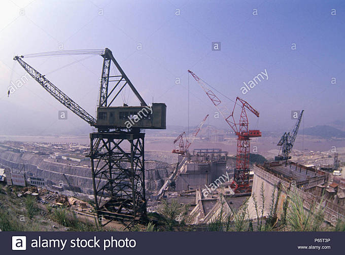 Construction site at the Three Gorges Dam on Yangtze River, China - Stock Image