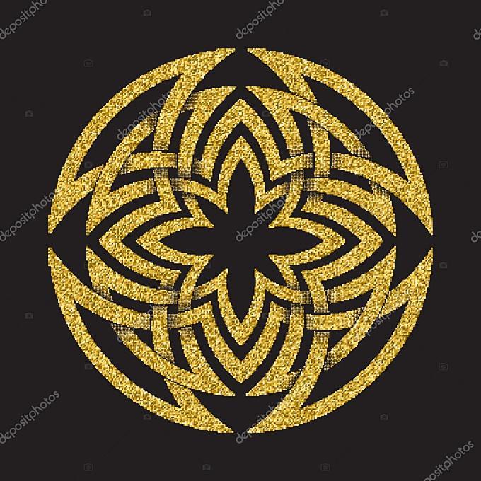 金闪闪发光符号在圆的迷宫窗体