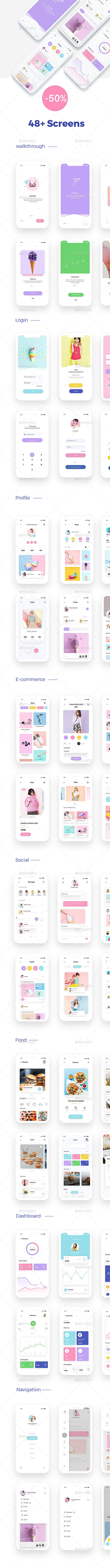 Do not miss the opportunity Minimal ui kit offers -50%  of the  price  $22 $11  Minimal UI Kit for IOS is a template includes 48+ screen for iPhone X. You can easly Change Colors and images with Smart Objects.   	Features:   	-48 unique screens  -well organized psd files  -Fully editable colours   	Credit Icon Used: www.flaticon.com   	Note: All images are just used for preview only