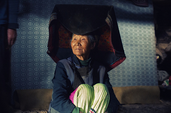 Grace in her eyes and a pentagon on her head~ Yi village ~ Yunnan