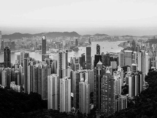 摩天大楼, 城市, 轮廓对着天空, 街道, 全景, 体系结构