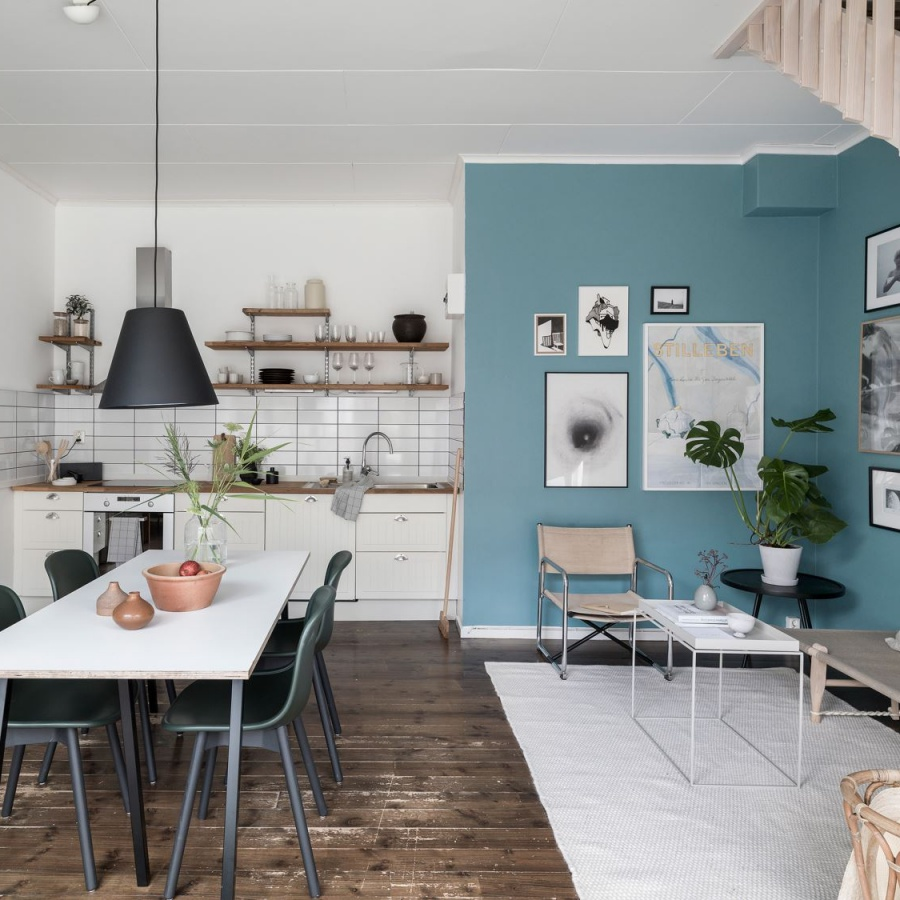 Simple Scandinavian Home With Blue Living Room