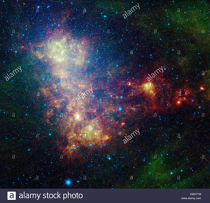 Infrared portrait revealing the stars and dust of the Small Magellanic Cloud. - Stock Image