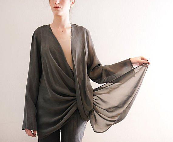 Chiffon shirt, gray Shrug ,Modern Long Sleeve top, loose fit, oversize blouse, deep cleavage, semi sheer, winter top, minimal style, formal