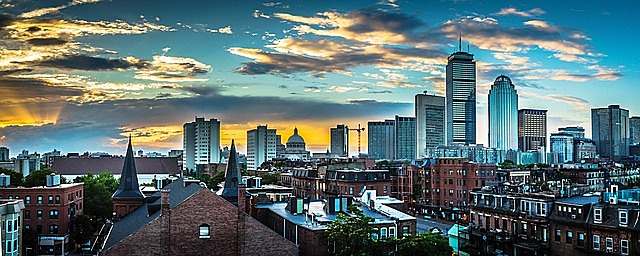 boston massachusetts skyline downtown urban cityscape evening sunset clouds sky business metropolis historic boston boston boston boston boston