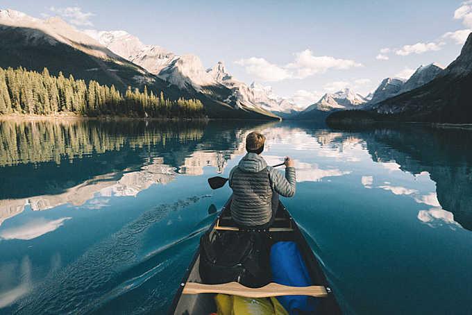 Paddling Maligne Lake.
