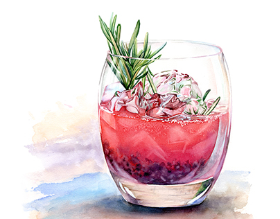 Watercolor Drinks and Deserts