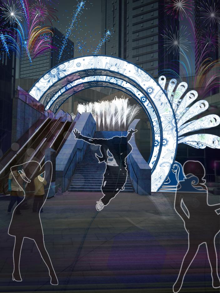 下沉广场拱门装置设计 1