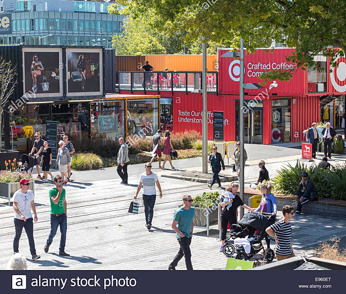 Christchurch Container Mall, Re:Start pop-up Mall or Cashel Street Mall built from shipping containers after the - Stock Image