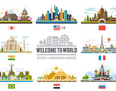 Welcome to world, flat landscape set