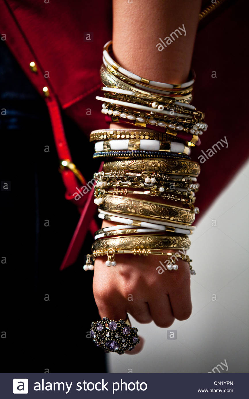 Jewellery worn by a model - Stock Image