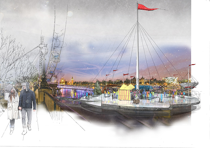 Ice rink on the Thames concept unveiled by NBBJ